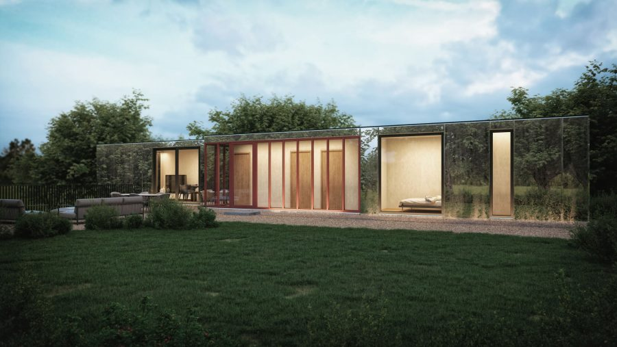 Patrick Bradley Architects Shipping Container Architecture Rural Bespoke Ireland Vernacular Lodge Bective lodge Abbey County Meath Mirror 1
